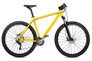 new yellow mountain bike bicycle isolated on white background /
